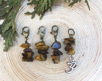 Tigers Eye Progress Keeper Markers | knitting stitch markers| Knitting Accessory | Knit Notions