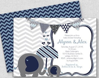 baby boy elephant shower invitation, elephant shower invitations, little boy baby shower, yellow white gray  and navy blue