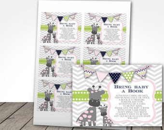 pink and mint giraffe baby shower bring a book cards, cute giraffe baby shower book card, instant download at purchase, bring a book 4 baby