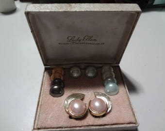 Vintage  Lady Ellen, Interchangeable, magnetic, pearl earrings set of 6