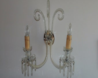 Antique Italian Glass Wall Sconce Lamp Italy