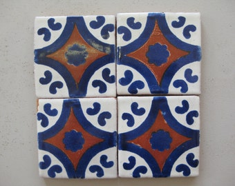 25-T12 3x3 Talavera Decorative Tile in Blue/Terracotta (Shipping Included)