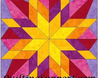 HC Star 2 - 10 Inch Paper Piece Foundation Quilting Block Pattern PDF