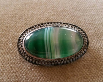 Vintage Sterling Banded Agate Brooch Pin, Antique Victorian Sterling Agate Brooch Pin