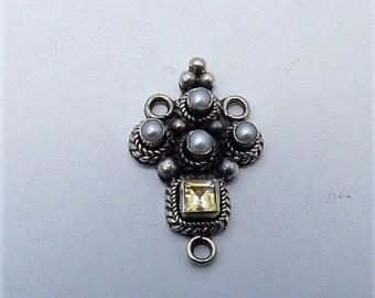 3 ways Connector Pearls & Citrine 925 Silver Handmade
