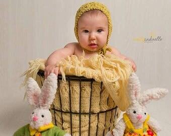 Delicate vintage crochet bonnet - newborn and baby photography prop