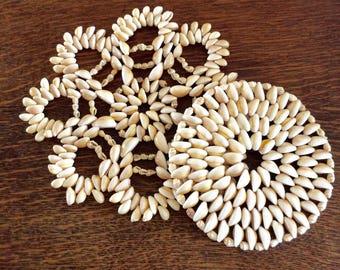 Vintage Set of Two, Seashell Trivets, Seashell Art, Coastal, Nautical, Beach, Tropical, Table Top Decor