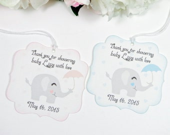 Elephant Baby shower favor tags, Baby shower thank you favor tag, Elephant baby shower gift tag, Thank you for showering baby with love