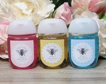 Bee Baby Shower Favor Labels Bride To Hand Sanitizer Mommy
