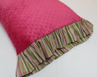 Pink Minky Dot pillowcase with Colorful Striped Ruffle