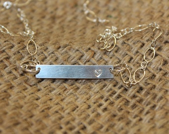 Simple HEART Stamped Bar Necklace STERLING SILVER for Valentines Day or any Day