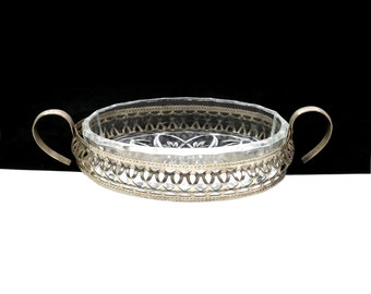 Vintage Silver Filigree Soap Dish with Flower Design & Cut Glass Insert