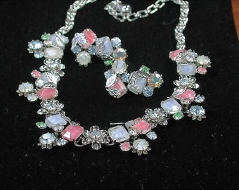 Vintage Signed Coro Demi Parure Givre Blue and Pink Art Glass Necklace and Earrings Set