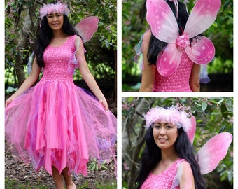 Adult Fairy Costume ~ CARNIVAL~ Wings ~ Tulle Headpiece  Masquerade Ball  ~ Burlesque ~ Festival ~Theatre