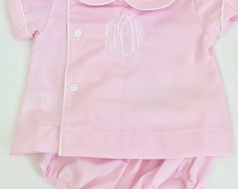 monogrammed girls diaper set - personalized baby gifts - personalized baby outfit - baby girl bubble -pink diaper set with monogram - twins