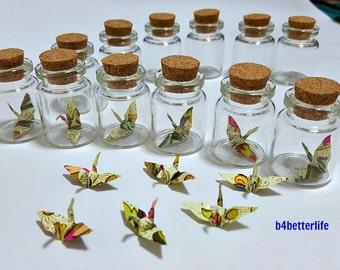 Lot Of 12pcs 1-inch Hand-folded Batik Design Paper Crane In Mini Glass Bottle With Cork. (WR paper series). #CIB12f.