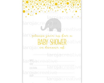 Yellow Elephant Baby Shower Fill-In Invitations