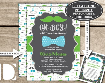 Little Man Baby Shower Invitation, Oh Boy, Mustache, Bow Tie, Blue, Green, Gray, Self-Editing PDF Invite, BONUS Bring-A-Book Cards