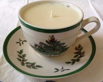 Spode Christmas Tea Cup Candle With Saucer