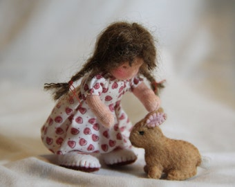 bendy dollhouse doll with felt bunny made to order