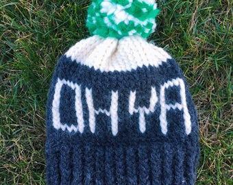 Dark Grey Ohio hat with cream and green pom pom