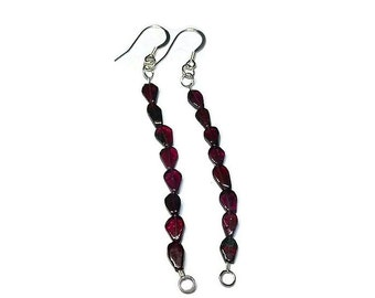 January birthstone earrings red garnet earrings long dangle earrings red gemstone jewelry silver earring dangle anniversary gift for wife