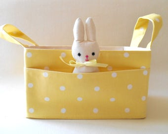 Fabric Basket Lemon Yellow Dots with Pockets and Bunny Friend, Storage Bin, Diaper Caddy, Gender Neutral Nursery Decor, Baby Shower Gift