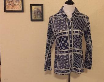 70s Paisley Blue Button Up
