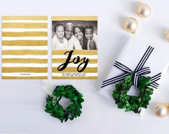 Christmas Cards in Watercolor Gold Stripes / Faux Metallic Gold