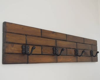 High Quality Wood, 4 Hook Coat Rack, Wall Mounted, Hanger for Clothes, Hand Made