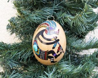 Southwestern Hand-painted Gourd Christmas Ornament Kokopelli Flute Player Turquoise Stone Accent Southwest #548
