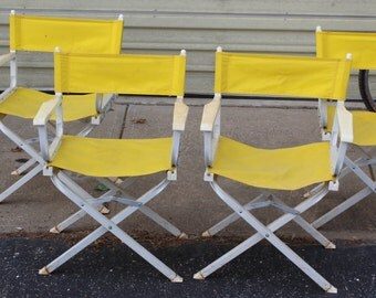 4  yellow Mid century directors chairs