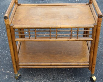 Wicker/bamboo mid century Bar Cart