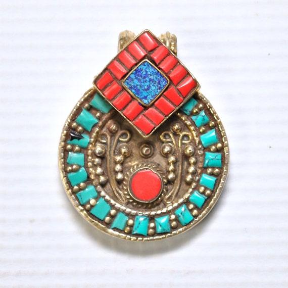 Tibetan Coral, Turquoise and Lapis Pendant #4993