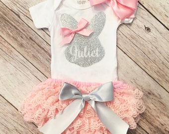Easter Outfit Baby Girl, Baby Easter Outfit, 1st Easter Shirt, My First Easter, Baby Girl Easter Outfit,