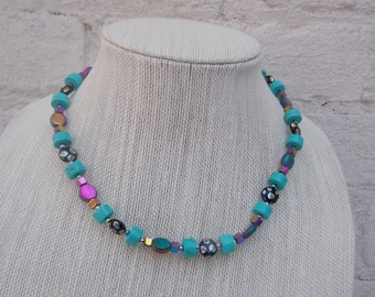 Charming Turquoise and Multi-color Beaded Necklace, Handmade, Free Shipping