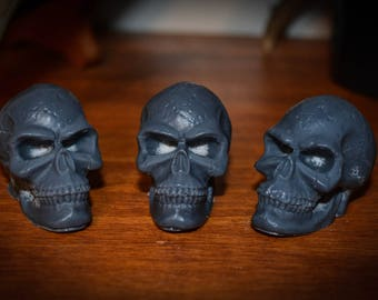 3 Nag Champa Scented Soy Wax Skull Melts Black