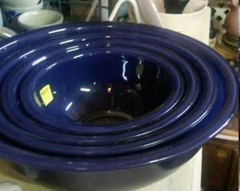 Vintage Pyrex Dark Blue See Thru Bottom Mixing Bowl Set Farmhouse