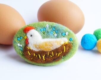 White Hen Brooch, 'Mother Hen' , Needle felted brooch, pin, wool, Chicken, Mothers Day gift, bird lover