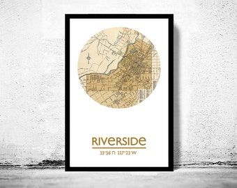 RIVERSIDE - city poster - city map poster print