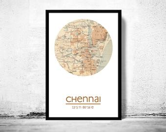 CHENNAI - city poster - city map poster print