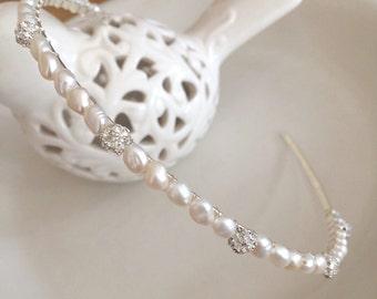 Freshwater pearl and diamante bridal headband, Pearl wedding hairband, simple headpiece bridal tiara, something blue, bridesmaid head band