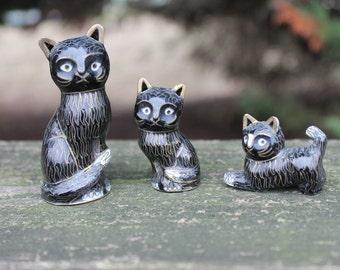 3 pc Metal Black Cat Family (Possible Vintage)