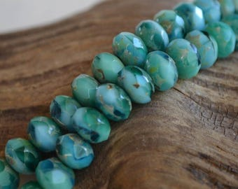 10 Turquoise & Emerald Green 8x6mm- Czech Picasso Beads- Faceted Rondelle- Shallow Waters (701-10)