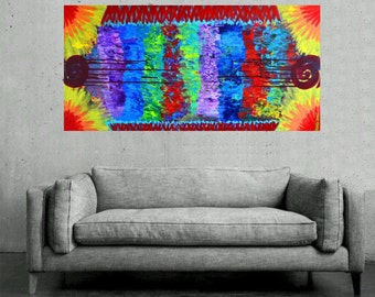 Hippie Colorful Painting - Bold Bright Dramatic Textured Contemporary Modern Original Art