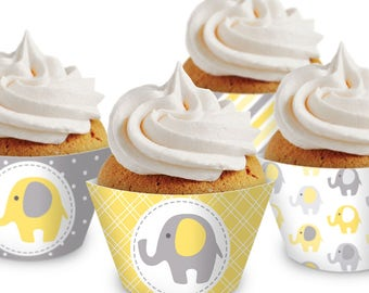 Elephant Cupcake Wrappers. Printable Cupcake Wraps. Gender Neutral Covers. Baby Cupcake Decor. Yellow and Gray Baby Shower Decorations
