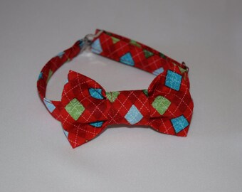 "Christmas bow tie for baby boy, toddler boy, or  boys. Argyle print, fun holiday bowtie. ""Snowman Christmas"" print fabric"