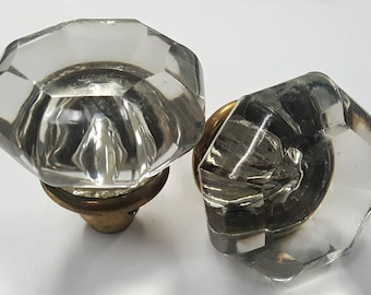 Octagonal Vintage Glass Doorknobs With Brass Plated Bases 530106