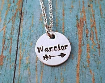 Warrior Necklace - Tribal Necklace - Warrior Jewelry - Statement Necklace - Warrior - Gift for Her - Turquoise - Hand Stamped Necklace