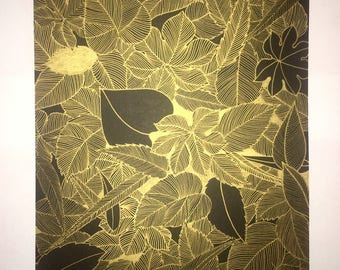 Leaves #2 / Line Drawing / Gold / Wall Decor